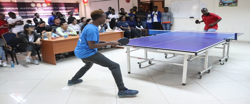 Figure1-Competitors battle it out for top honours during the 2018 table tennis tournament organized by the Confucius Institute at the Chinese Cultural Experience Centre